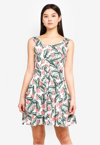 Mela London white and multi Palm Leaf Dress DE1B3AAF27A31FGS_1