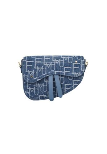 EMO blue Korean fashion Brand‧Handheld‧Shoulder‧Denim Classic Saddle Bag - Light Blue 28D01ACD4607B9GS_1