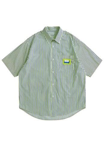 Twenty Eight Shoes Loose Contrast Stripe Short Shirt 2251S21 620CCAA41DBA2DGS_1