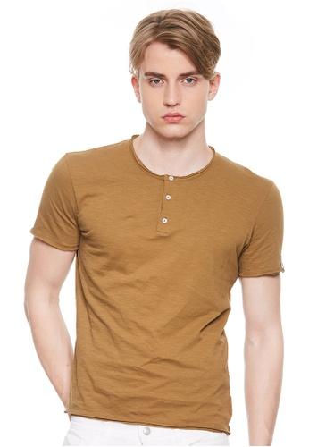 Sisley brown Short Sleeves T-shirt. 635BEAABFFEB3AGS_1