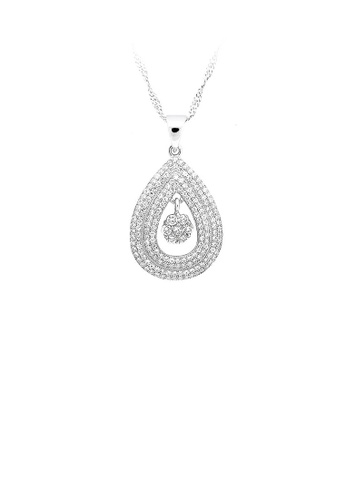 Glamorousky silver 925 Sterling Silver Water-drop-shape Pendant with White Cubic Zircon and Necklace 052FAACDDD91C8GS_1