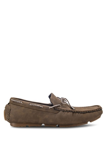 UniqTee brown Tie-Front Slip On Loafers UN097SH17RFQMY_1