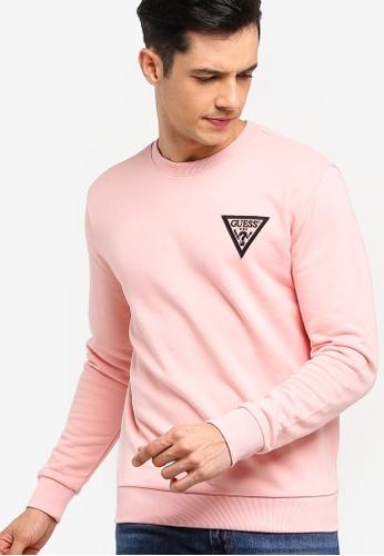 Guess 粉紅色 LOGO刺繡印花棉T B3F53AA1563CF6GS_1