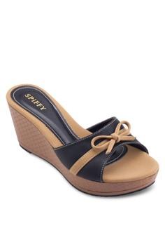 蝴蝶結雙色楔型鞋
