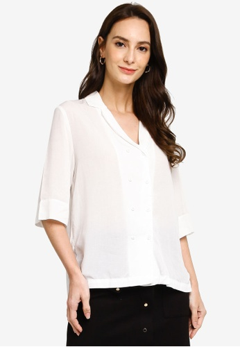 Hopeshow white Double Breasted V-Neck Button Blouse ADE28AA919159EGS_1