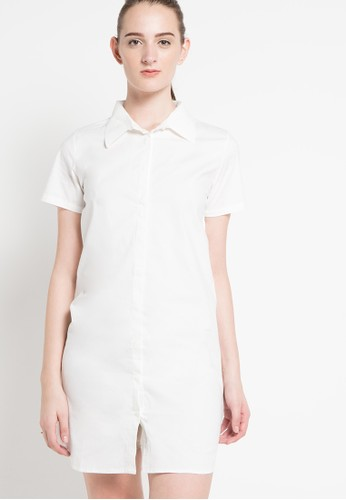 ULTRAVIOLET BY COME white Germaine Shirt Dress UL461AA24NIDID_1