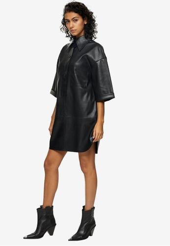 TOPSHOP black Black Pu Oversized Mini Shirt Dress 749B8AA2710C3EGS_1