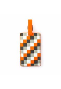 Orange Check Luggage Tag