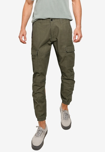 Topman green Khaki Cargo Trousers BD8CCAAE1FB60CGS_1