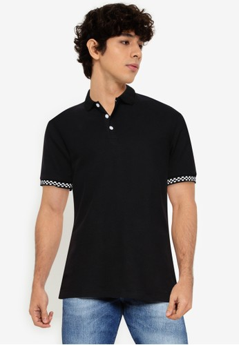 UniqTee black Polo Shirt With Checkered Cuff 6F6DFAA06D405BGS_1