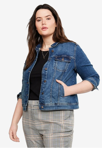 5d0553a1884 Violeta by MANGO blue Plus Size Dark Wash Denim Jacket 96022AA20CA9B1GS_1