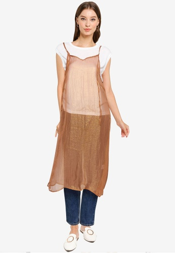 Heather brown Semi-sheer Camisole Dress 1985BAA7F14512GS_1