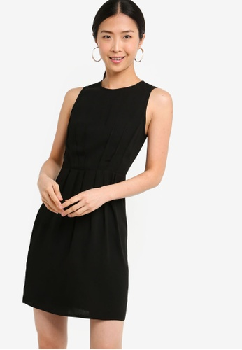 ZALORA BASICS black Basic Pleat Waist Dress 99030AA1F37635GS_1