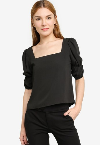 Origin by Zalora black 100% Recycled Polyester Square Neck Puff Top 0EF4AAADD9294EGS_1