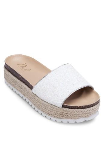 金屬感寬帶厚底麻編涼鞋, 女鞋,esprit hong kong 涼鞋