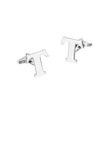 Glamorousky silver Simple Personality English Alphabet T Cufflinks 1CC95AC1617C6BGS_1