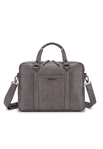 "ENZODESIGN grey ENZODESIGN Cow Soft Napa Leather 15"" Macbook Slim Briefcase B11808GREY D7D15AC313B0DCGS_1"