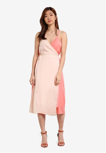 ZALORA pink Colourblock Wrap Cami Dress 3D18FZZ988AC91GS_1