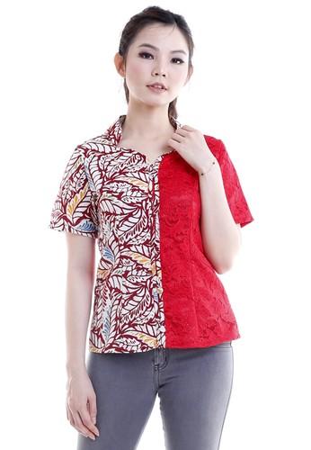 DhieVine Batik red and multi Dedaun Merah Brukat Cheongsam Blouse Batik 6518BAA351324AGS_1