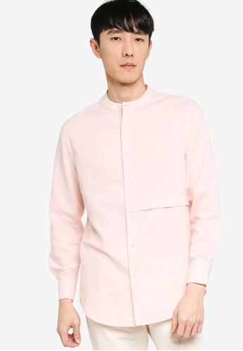 ZALORA BASICS pink Front Panel Long Sleeve Shirt A4B37AA40964F8GS_1