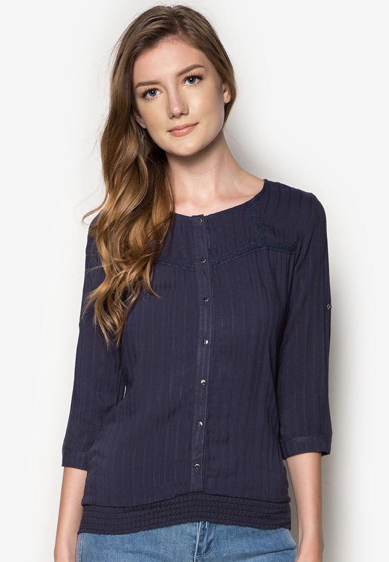 Elbow Sleeves Woven Blouse