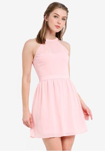ZALORA pink Bridesmaid Halter Fit & Flare Mini Dress AFF0AAA05EA7EBGS_1