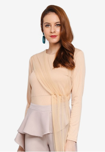 Lubna beige Side Part Top 68430AACA3DFB2GS_1