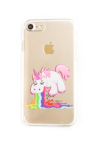 Fancy Cellphone Cases multi Unicorn Vomit Hard Transparent Case for iPhone 7 FA644AC65ZAOPH_1