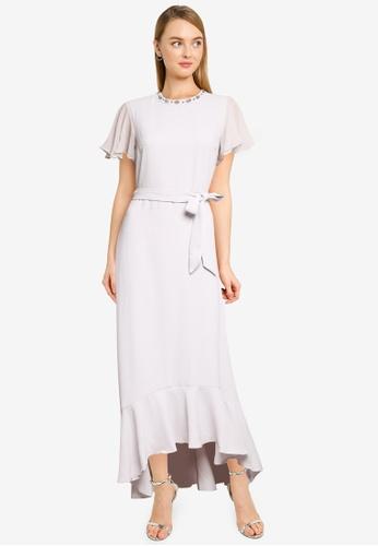 Dorothy Perkins grey Grey Embellished Flutter Maxi Dress 3DA6AAA1B1A466GS_1