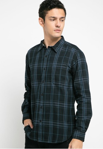 SHARKS black Checked Long Sleeves Shirt C43ACAA11AF558GS_1