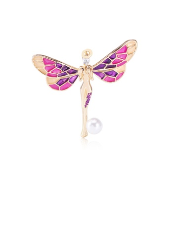Glamorousky white Fashion and Elegant Plated Gold Purple Angel Imitation Pearl Brooch with Cubic Zirconia 4162EAC3FCC58CGS_1