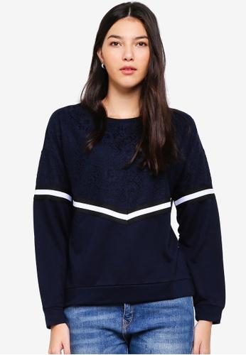 JACQUELINE DE YONG grey Alma Lace Sweatshirt 93612AA8A3CA19GS_1