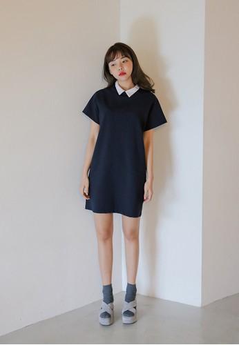 撞色領短袖洋裝, 服esprit 錶飾, 洋裝