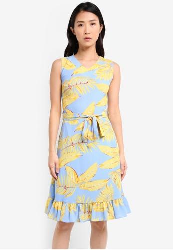 ZALORA yellow Fit & Flare Ruffle Sleeve Dress 15A24AA1B1A88EGS_1