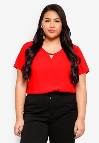 Ex'otico red Plus Size Short Sleeve Round Neck 12DA2AA00A1E5FGS_1