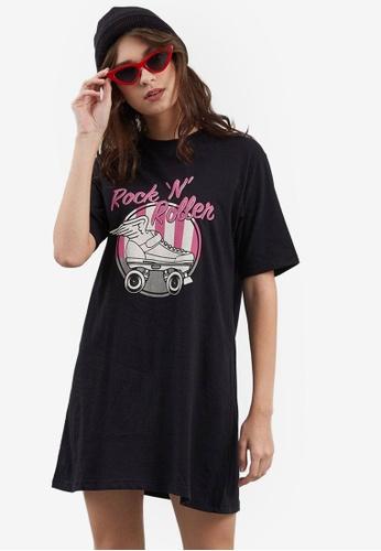 Berrybenka black Bonny Rock N Roll T-Shirt Dress CA5B1AA9C1DF70GS_1