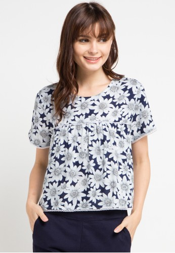Gaff multi and navy Flower Blouse 50BBCAA0549BAAGS_1