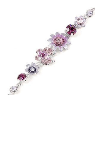 Glamorousky purple Flower and Butterfly Bracelet with Purple Austrian Element Crystals 6CEBEAC6433CDFGS_1