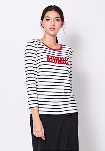 Sisley white Striped T-shirt 0CA3AAA5438D16GS_1