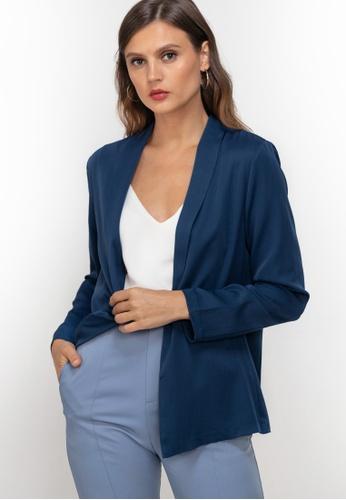 ZALORA WORK blue Shawl Collar Blazer 97B1DAAD6F124DGS_1