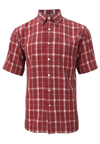 Pacolino red Pacolino - Korea Polynosic Wrinkle Free Checker Formal Casual Short Sleeve Men Shirt 69F33AAFC86ADFGS_1