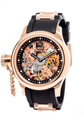 INVICTA black and gold Invicta Russian Diver Men 47mm Case Rose Gold, Black Stainless Steel, Polyurethane Strap Black Dial Mechanical Watch 1845 w/ Cap IN968AC0FIY1SG_1