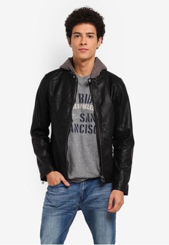 ESPRIT black 2-in-1 faux leather biker jacket A82F3AADBC4FF2GS_1