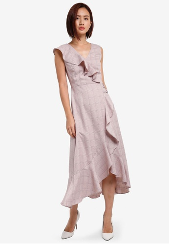 ZALORA pink Faux Wrap Plaid Dress 5708DAA7F12B1DGS_1