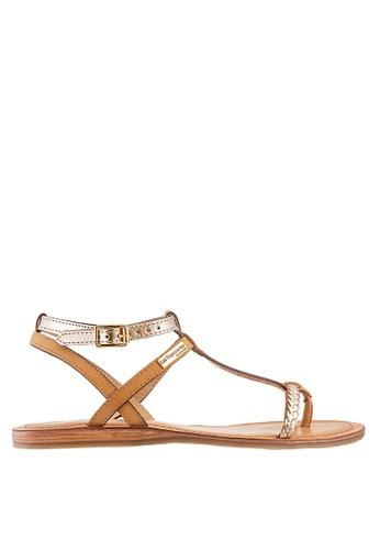 Les Tropeziennes Par M. Belarbi yellow Hilatres Honey Gold T-Strap Leather Sandals 9B474SH064EEECGS_1
