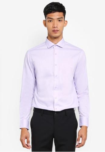 G2000 purple Dot Textured Long Sleeve Shirt F5EDEAA9CD6471GS_1