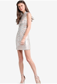 d43ef5258b3a 60% OFF Miss Selfridge Premium Silver Sequin Chinoiserie Dress S  299.00  NOW S  119.90 Sizes 10 12
