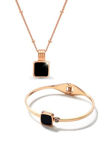 CELOVIS black and gold CELOVIS - Cole in Black Pendant Necklace + Bangle Jewellery Set 99F7FACADC77BEGS_1