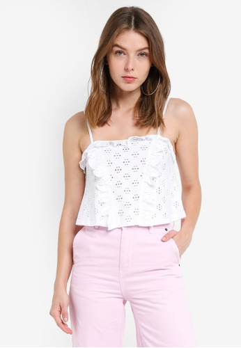 TOPSHOP white Petite Broderie Trim Cami Top 7DD3BAACCF7469GS_1