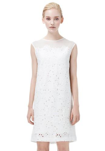 拼接透視洋裝, 服飾esprit outlet, 短洋裝